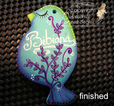 tutorial wood bird name tag with decoart finished with glitter