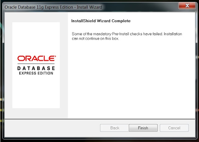 Checking for Oracle XE Service Instance Failed