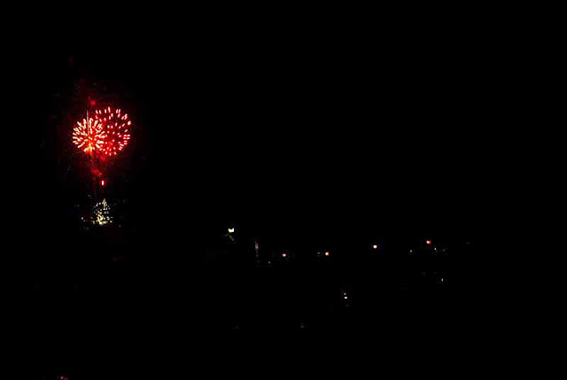 Red and ping fireworks