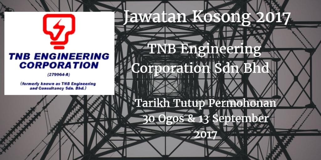 Jawatan Kosong TNB Engineering Corporation Sdn Bhd 30 Ogos - 13 September 2017