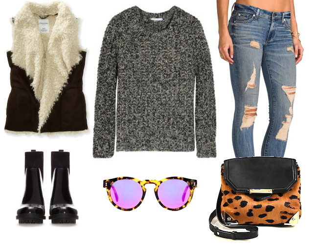 a752eca2aa5 duffy chunky knit sweater (available here), textile elizabeth and james  debbie jeans (available here), aeropostale faux shearling vest (available  here), ...