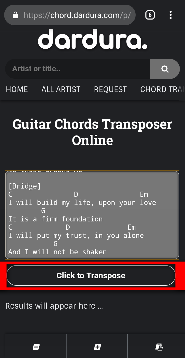 Guitar Chords Transposer Online