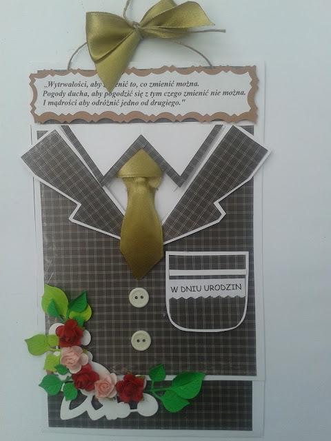 kartka ręcznie robiona, garnitur, krawat