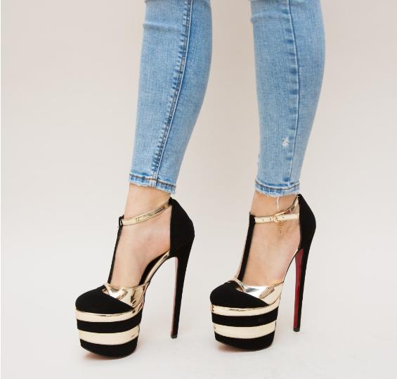 Pantofi cu toc inalt si platforma inalte negrii cu auriu
