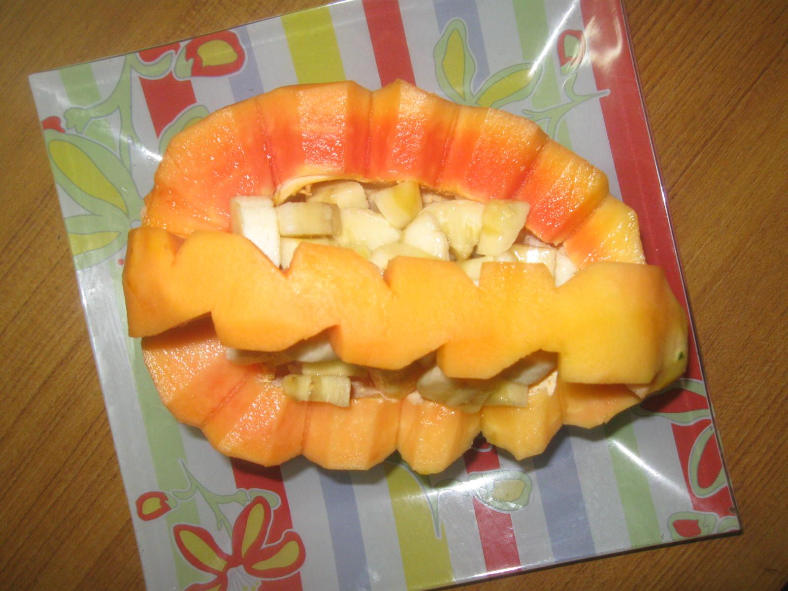 Indian Vegetarian Recipes: Papaya Basket/Fruit Basket ...
