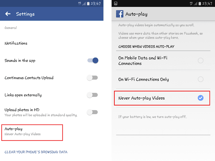 Menonaktifkan Auto-Play Facebook Android