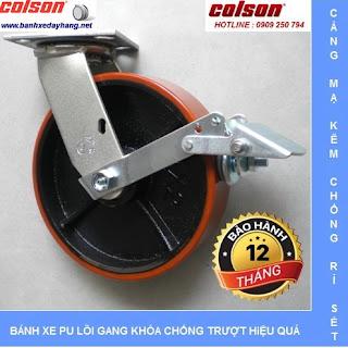 Bánh xe pu chịu lực lõi gang SP Caster Colson tại An Giang www.banhxedayhang.net