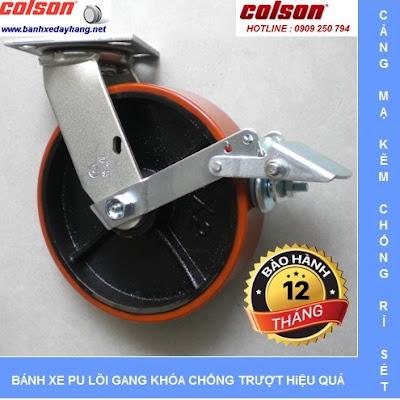 Bánh xe pu chịu lực lõi gang SP Caster Colson tại An Giang www.banhxepu.net