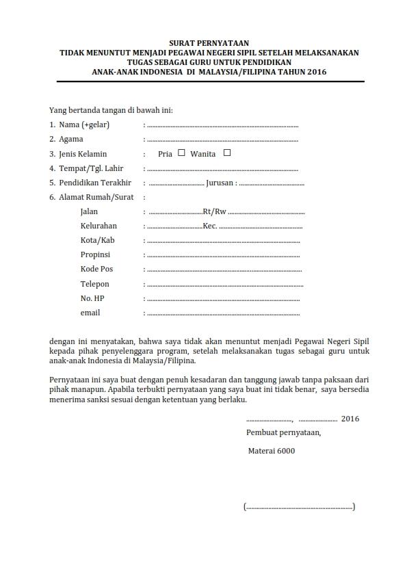 Rekrutmen Guru untuk TKI Malaysia dan Filipina