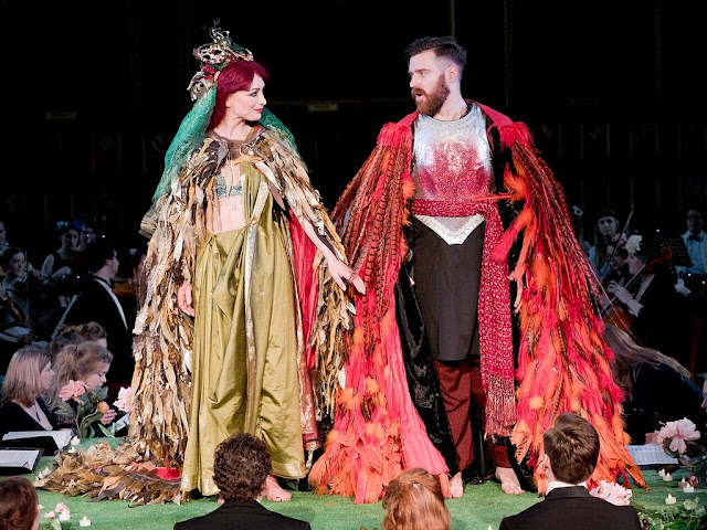 Lucy Thatcher and David North in A Midsummer Night's Dream at Middle Temple Hall, © 2016 Celia Bartlett Photography.
