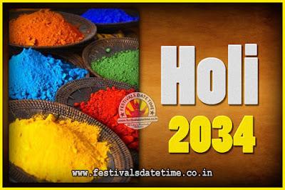 2034 Holi Festival Date & Time, 2034 Holi Calendar