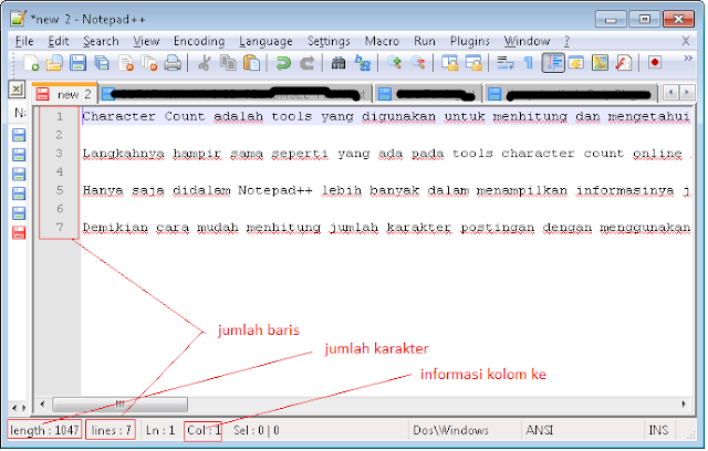 Cara Menghitung Jumlah Character dengan Notepad++