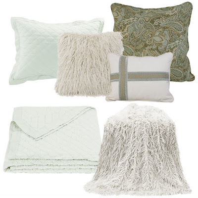 Seafoam linen quilt, Arlington Euro sham and decorative throw pillow, white monogolian faux fur throw and pillow
