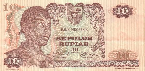 10 rupiah 1968 depan