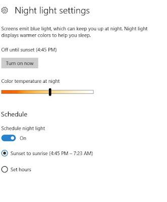 Windows 10 night light settings.