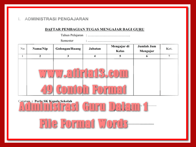 49 Contoh Format Administrasi Guru Dalam 1 File Format Words