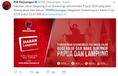 Hari Ini PDIP Umumkan Rekomendasi Pasangan Calon Gubernur dan Wakil Gubernur Lampung