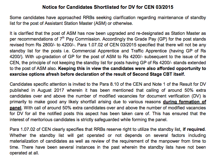 RRB Notice for Selected candidates Document Verification