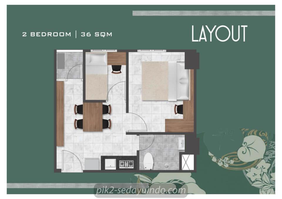 Tipe 2 BR Apartemen Tokyo Riverside
