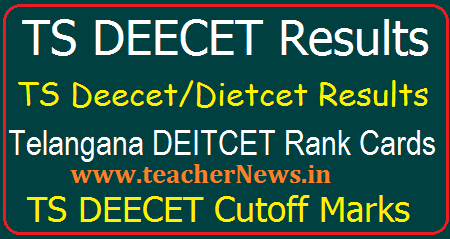 TS Deecet/Dietcet Results 2018 - Telangana DEECET Rank Card, Merit list, Cutoff Marks @ tsdeecet.cgg.gov.in