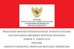 Permenpan RB No 21 [Tahun] 2018 (Tentang) Jabatan Fungsional PENYULUH KELUARGA BERENCANA (KB)