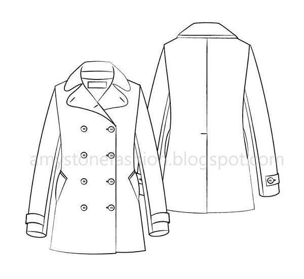 Amy Stone Fashion Flat Sketches: Women\'s Pea coat flat fashion ...