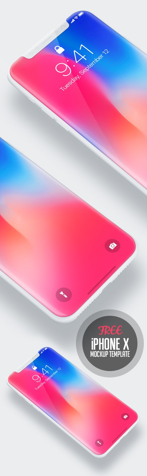 Free iPhone 8, iPhone 8 Plus and iPhone X PSD Mock-up Templates