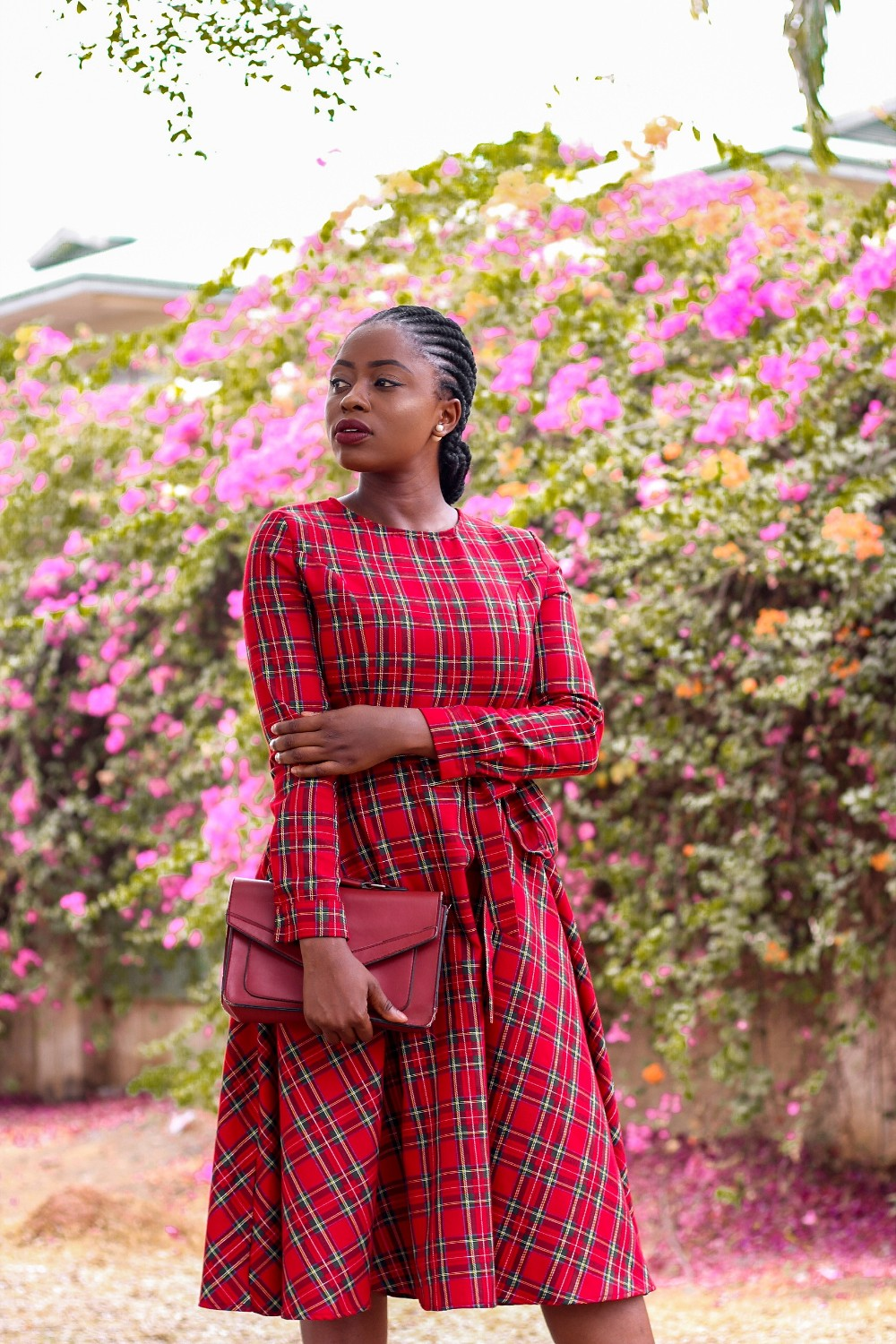 red tartan plaid midi dress