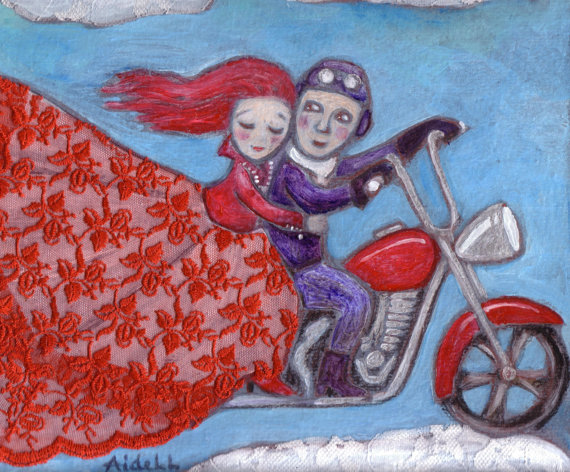 #AideLL #Aide #Leit #Harley D #motorbike #red #lace #art #painting #illustration