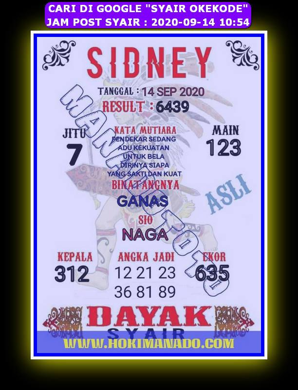 Kode syair Sydney Senin 14 September 2020 38