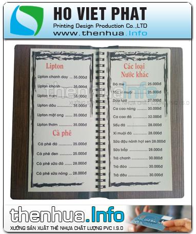 Sản xuất in menu nhựa giá rẻ tại Sài Gòn