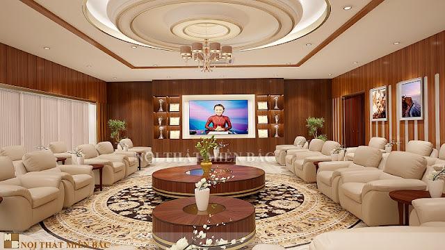 Sự hài hòa, sang trọng là những gì mà thiết kế nội thất phòng khánh tiết đã thể hiện được trong không gian này
