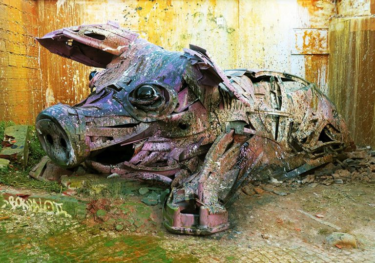 Street Artist Transforms Ordinary Junk Into Animals To Remind About Pollution - Pig