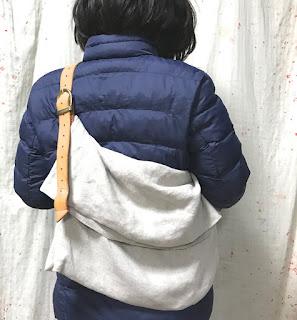 麻とレザーのバッグ