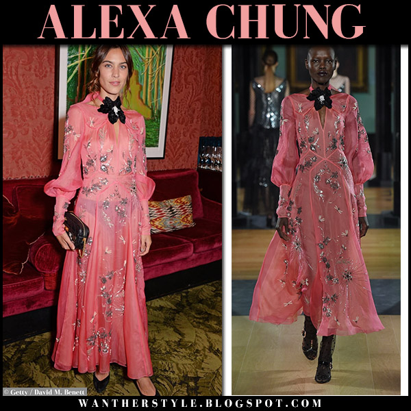 Alexa Chung in sheer pink embellished maxi dress erdem london fashion week september 17
