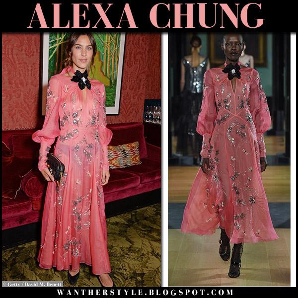 Alexa Chung in sheer pink embellished maxi dress erdem london fashion week september 17