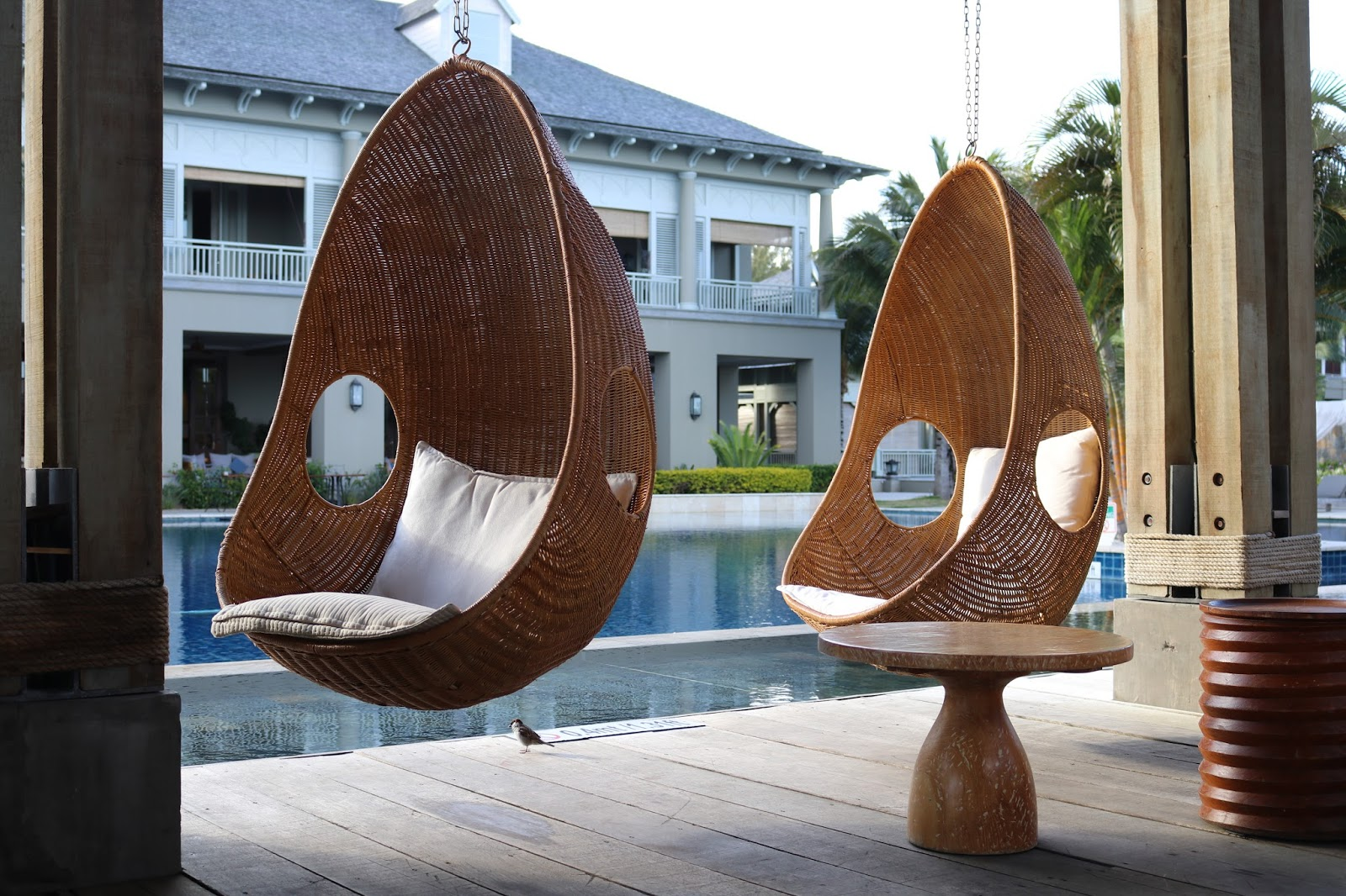 St Regis Lunch Bar Mauritius Egg Chairs