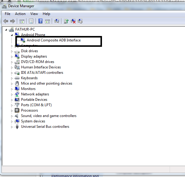 Adb Driver jenis MTK 65xx di Komputer