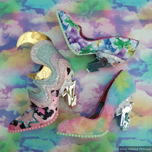 crescent moon shoe, unicorn print and furry fabric shoes all with lightning bolt heels on cloud backdrop