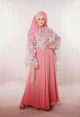 Model Baju Gaun Pesta Muslim Sifon dan Taff Terbaru