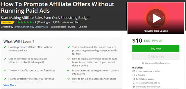 [95% Off] How To Promote Affiliate Offers Without Running Paid Ads| Worth 200$