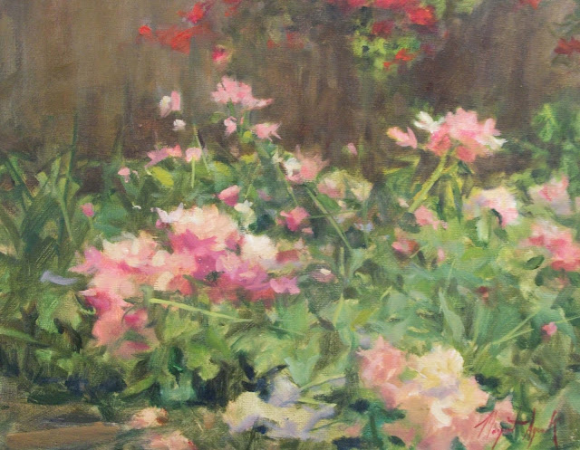 peony garden oil painting by margaret aycock