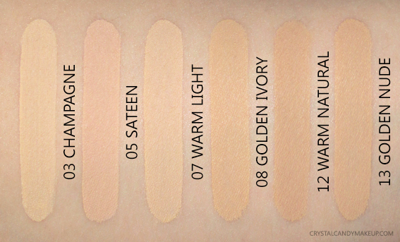 BareMinerals BarePRO Performance Wear Liquid Foundation Swatches 03 05 07 08 12 13