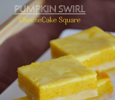 Resepi Pumpkin Swirl Cheese Cake Square