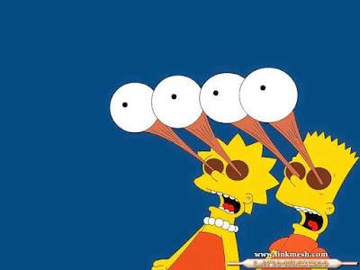 Bart , Lisa , Simpson , ojos saltones, fuera de las órbitas, cómic