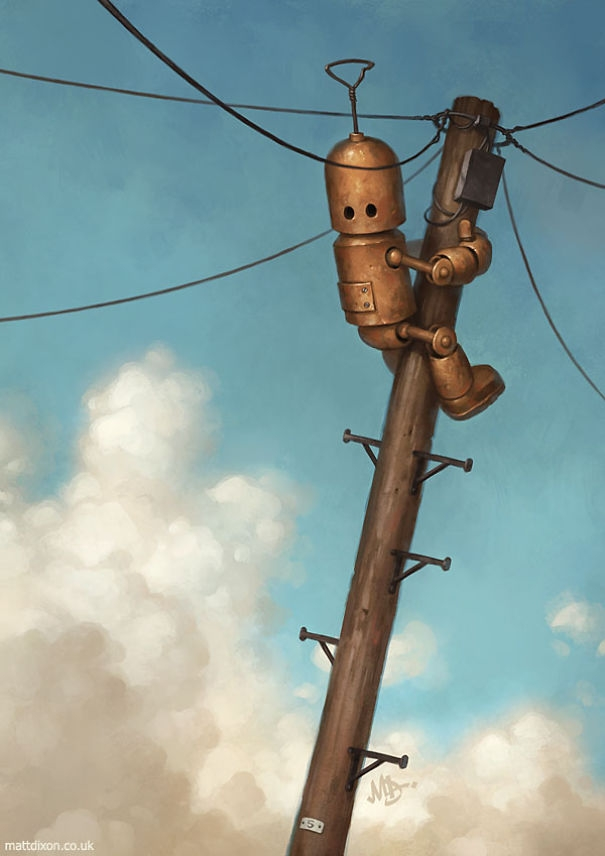 13-Matt-Dixon-Illustrations-of-Lonely-Robots-Experiencing-The-World-www-designstack-co