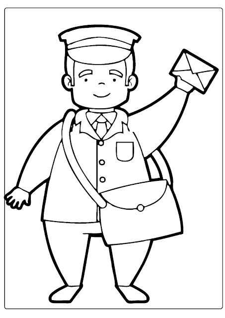 Desenhos das profissões para colorir e imprimir: Carteiro, Lixeiro, Padeiro, Professora, Bombeiro, Dentista, Jardineiro, Cozinheira, Policial, Médica, Pedreiro.
