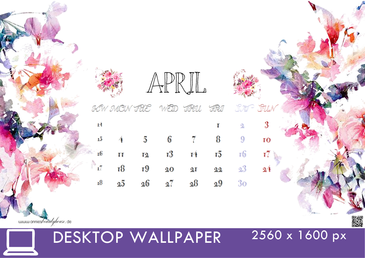 Desktop Calendar 4 April 16 20560x1600px