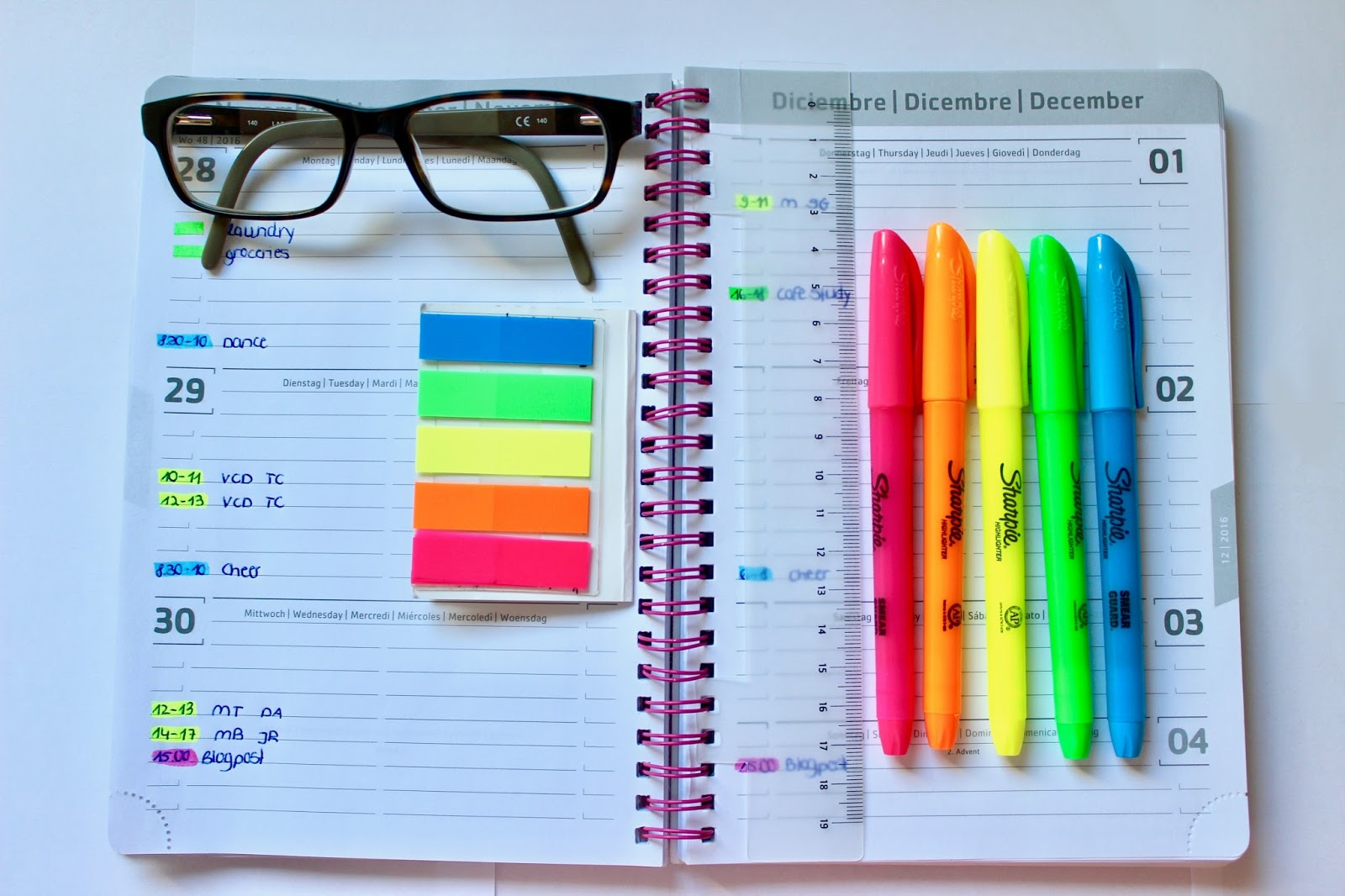 Planner colour coordinating in College