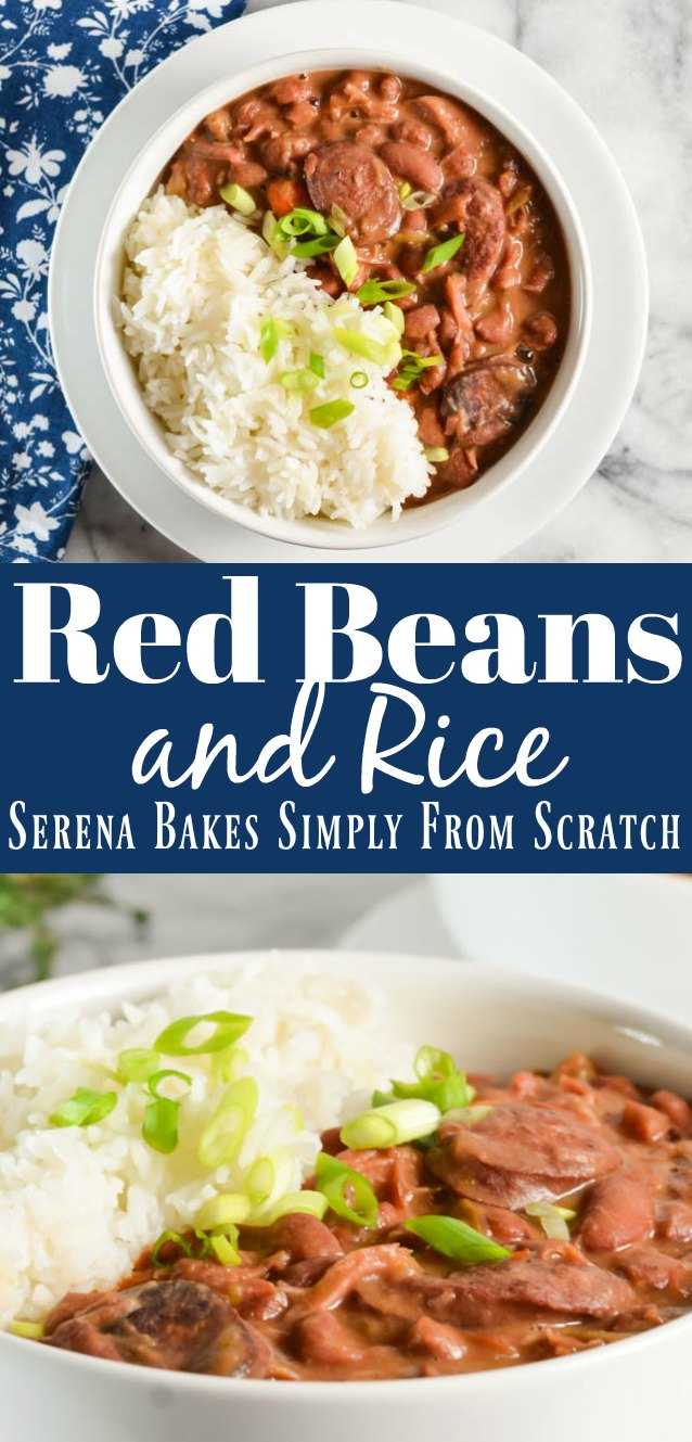 Meaty Red Beans and Rice recipe with ham hock and andouille sausage is soul warming Southern food from Serena Bakes Simply From Scratch.